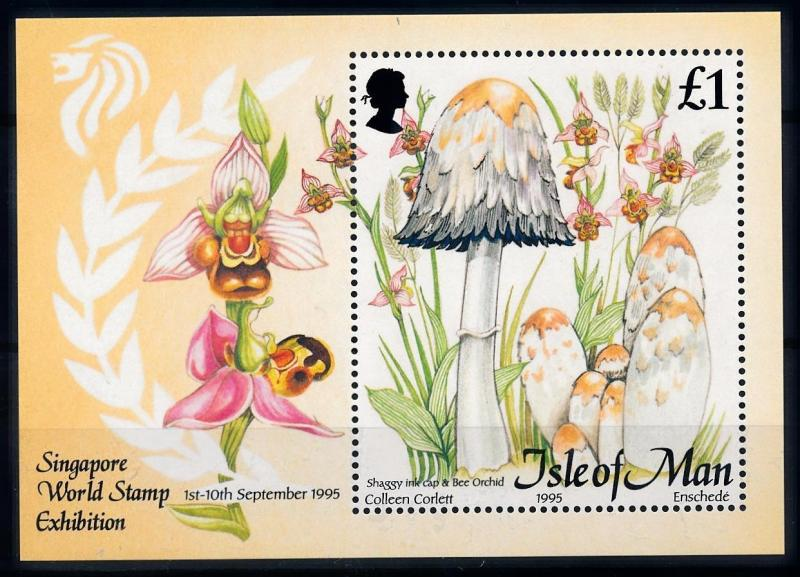 [68927] Isle of Man 1995 Mushrooms Pilze Champignons Orchids Souvenir Sheet MNH
