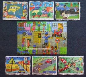 CUBA Sc# 5581-5587  ROAD SAFETY DAY Cpl set of 6 + Souvenir Sheet  2014  MNH