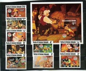 TURKS & CAICOS ISLANDS 1980 DISNEY CHRISTMAS SET OF 9 STAMPS & S/S MNH
