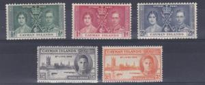 CAYMAN ISLANDS 1937 - 46  CORONATION & VICTORY SETS MH LIGHT TONING TO SOME