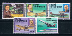 Central African Rep 297-301 Used set Planes (C0118)