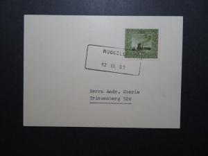 Liechtenstein 1952 Card w/ SC# B19 & Scarce Boxed Ruggell Postmark - Z11846