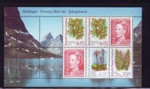 Greenland Sc 283a 1996 Orchids Queen bklt pane mint NH