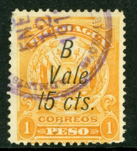 Nicaragua 1911 Bluefields on ABNC 15¢ VFU K398 ⭐⭐⭐⭐⭐⭐