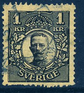 SWEDEN 94, 1Kr King Gustaf V, Used.