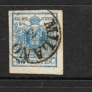 LOMBARDY AND  VENETIA  1850  45c  BLUE  ARMS  FU  Sc 6d  SG 9