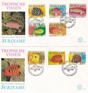 Suriname # 447-451, C55-57, Tropical Fish on 2 First Day Covers