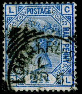 SG157, 2½d blue plate 23, USED. Cat £35. CL