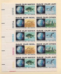 United States, 1410-13, Anti-Pollution Plt.Blk(10), MNH