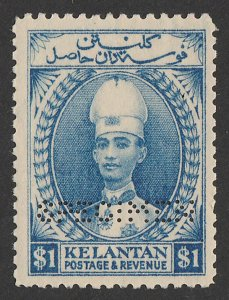MALAYA - Kelantan : 1928 Sultan Tall Hat $1 blue, perf SPECIMEN. MNH **.