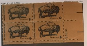 US #1392 PB (MNHOG) [Plate Block Mint No Hinge Original Gum] Buffalo Wildlife