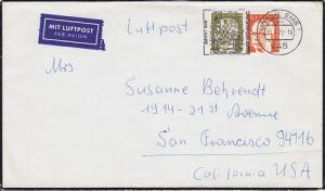 Germany Sc 1032, 1038 on 1972 Mourning Cover to US
