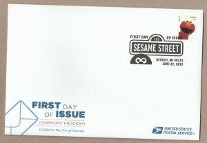US 5394m Sesame Street Elmo Ceremony Program FDC 2019