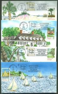 #2339, 2342, 2343, 2345 (4) DIFFERENT HAND PAINTED FDC CACHET BY HAM BR670
