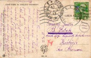 Austria 5h Franz Josef 1915 Olmutz 2, Olomouc 2 PPC Domestic use.