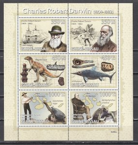 Guinea Bissau, 2009 issue. Charles Darwin sheet. ^