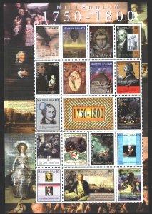 Maldives. 2000. Small sheet 3371-87. Millennium, Ekatarina 2, Napoleon, Mozar...