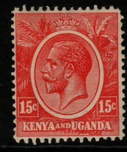 KENYA, UGANDA & TANGANYIKA SG82 1922 15c ROSE-CARMINE MTD MINT