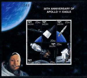 [78637] Bhutan 1999 Space Travel Weltraum Apollo XI Sheet MNH