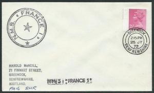 GB SCOTLAND 1972 cover Greenock cds NMS FRANCE ship cachet..............37832