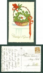 Denmark. Postcard. New Year 1932. Basket With Four- Leaf Clover. Stamp 10 Ore.