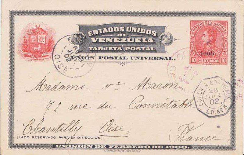 Venezuela 10c San Martin Postal Card Overprinted 1900 1902 Correos, Caracas t...