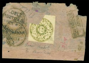 AFGHANISTAN 188? TIGER'S HEAD 1sh green Sc# 39 on POSTAGE DUE small native COVER