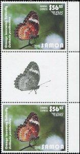 Samoa 2015 Sc C13 Gutter Pair Orange Lacewing Butterfly CV $85