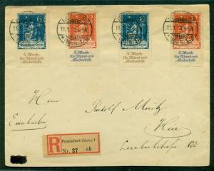 GERMANY 1923, Mi#233-4 on REGISTERED cover tied w/black FRANKFURT cancels, VF