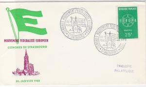 France 1960 European Federal Movement Slogan Cancels Stamp FDC Cover Ref 31645