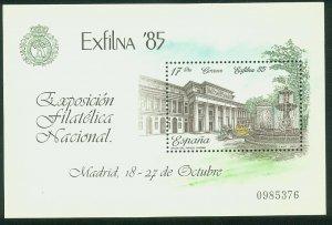 SPAIN 2452, EL PRADO MUSEUM - EXFILNA PHILAT EXPOS 1985, SOUVENIR SHEET MNH VF