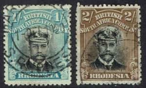RHODESIA 1913 KGV ADMIRAL 1/- AND 2/- DIE II PERF 14 USED