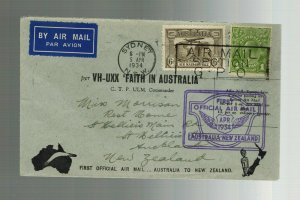 1934 FAith in Australia to Auckland New Zealand FFC First Flight Cover VH UXX