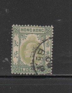 HONG KONG #87  1904  2c  KING EDWARD VII    USED F-VF