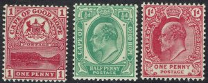 CAPE OF GOOD HOPE 1900 TABLE MOUNTAIN 1D AND 1902 KEVII 1/2D AND 1D MNH **