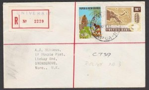 PAPUA NEW GUINEA 1973 Registered cover RELIEF 3 used at UNIVERSITY..........L877