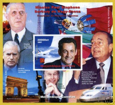 Mozambique 2007  Nicolas Sarkozy/De Gaulle/Concorde/Trains S/S Imperforated MNH