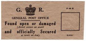 (I.B) George V Postal : Officially Sealed Label