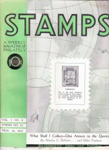 Stamps Weekly Magazine of Philately November 25, 1933 Stamp Collecting Magazine