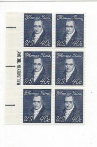 United States, 1292, 40c Thomas Paine Mail Early Block of 6 LEFT SIDE, MNH