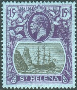 ST HELENA-1922-37 15/- Grey & Purple/Blue.  A mounted mint example Sg 113