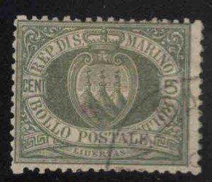 San Marino Scott 5 Used Olive Green 1892 stamp
