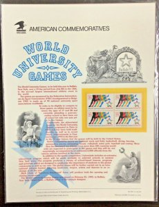 Commemorative Panel #410 World University Games #2748  29 c  1993