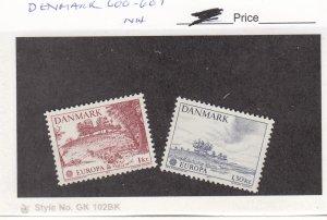 J26009 jlstamps 1977 denmark set mnh #600-1 europa , all checked