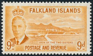 Falkland Islands 1952 9d Orange-Yellow SG179 MH