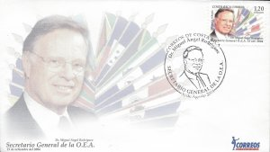 COSTA RICA DR MIGUEL ANGEL RODRIGUEZ O.E.A. PRESIDENT, FLAGS, Sc 581 FDC 2004