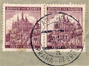BÖHMEN u. MAHREN 1941  PRAG-PRERAU  TPO n°6a bilingual CDS on 2xMi.27