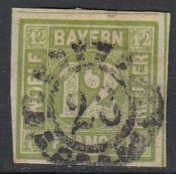German States - Bavaria 1862 , 12 Kr. yellowgreen , Mi12 VFU