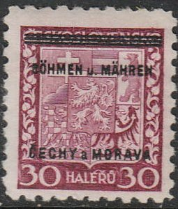 Stamp Germany Bohemia Czech Mi 005 Sc 005 1939 WW2 Occupation Monrovia MNH
