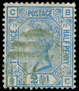 SG142, 2½d blue plate 19, USED. Cat £55. BC